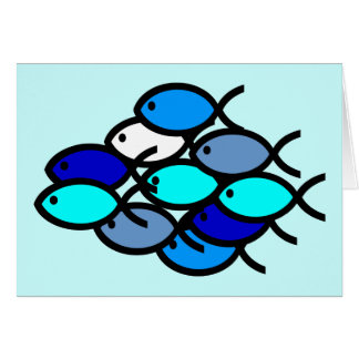 School of Christian Fish Symbols - Blue - Card