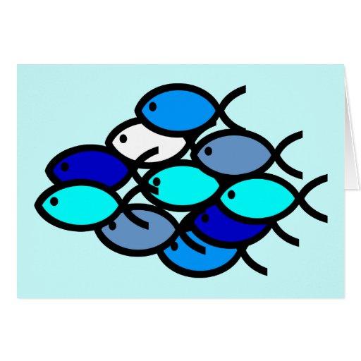 School of Christian Fish Symbols - Blue - Card