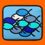 School of Christian Fish Symbols - Blue - iPad Sleeves