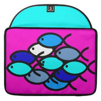 School of Christian Fish Symbols - Blue - Sleeve For MacBook Pro