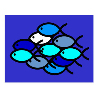 School of Christian Fish Symbols - Blue - Postcard