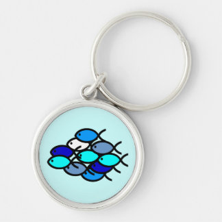 School of Christian Fish Symbols - Blue - Silver-Colored Round Keychain