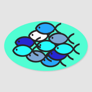 School of Christian Fish Symbols - Blue - Oval Sticker