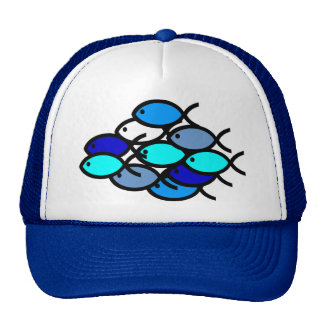 School of Christian Fish Symbols - Blue - Trucker Hat