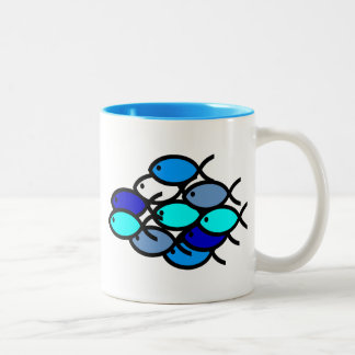 School of Christian Fish Symbols - Blue - Two-Tone Coffee Mug