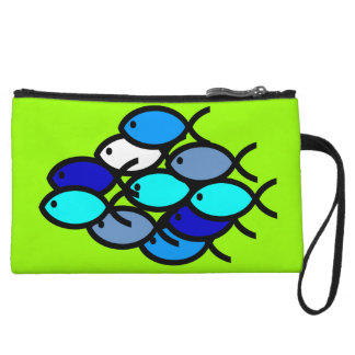 School of Christian Fish Symbols - Blue - Wristlet