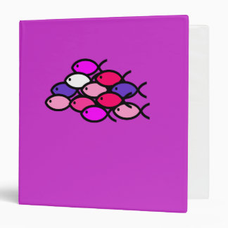 School of Christian Fish Symbols - Pink 3 Ring Binder