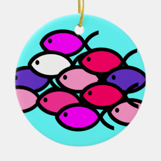 School of Christian Fish Symbols - Pink Ceramic Ornament