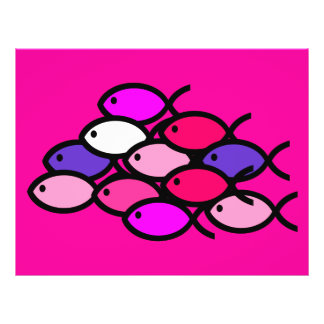 School of Christian Fish Symbols - Pink Flyer