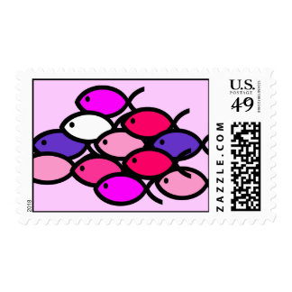School of Christian Fish Symbols - Pink Postage