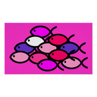 School of Christian Fish Symbols - Pink Poster