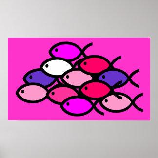 School of Christian Fish Symbols - Pink Posters
