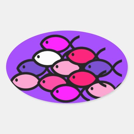 School of Christian Fish Symbols - Pink Oval Sticker