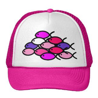 School of Christian Fish Symbols - Pink Trucker Hat