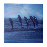 School of dolphins by moonlight ceramic tile