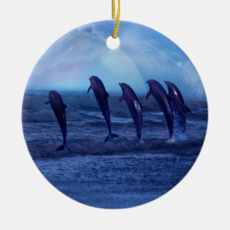 School of dolphins by moonlight christmas tree Double-Sided ceramic round christmas ornament