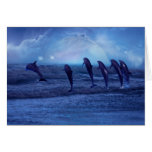 School of dolphins by moonlight greeting cards