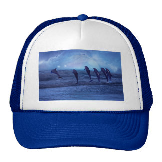 School of dolphins by moonlight trucker hat