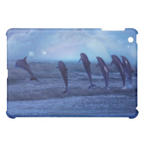 School of dolphins by moonlight iPad mini cover