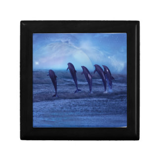 School of dolphins by moonlight keepsake box