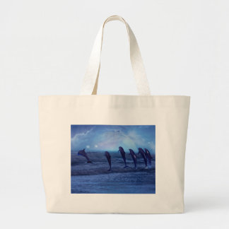 School of dolphins by moonlight large tote bag