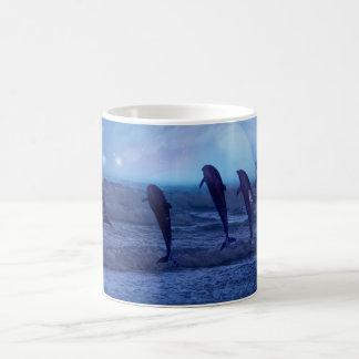 School of dolphins by moonlight mug