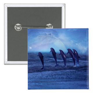 School of dolphins by moonlight pinback button