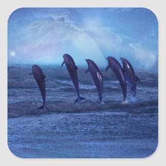 School of dolphins by moonlight square sticker