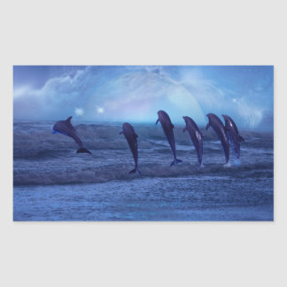 School of dolphins by moonlight rectangle sticker