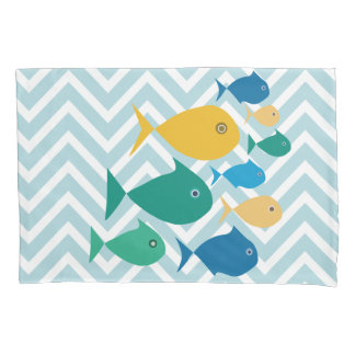 School Of Fish Chevron Pillowcase