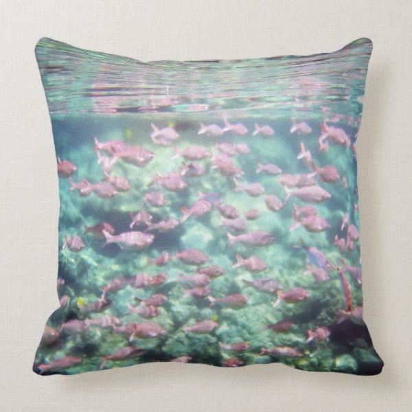 School of Fish Cotton Throw Throw Pillow