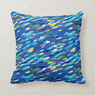 School of fish, dark blue, white, turquoise throw pillow