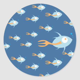 School of Fish Organic Planet Stickers
