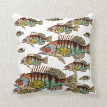 Beach Themed School of Fish Throw Pillow