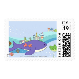 School of fishes swimming in underwater town stamp