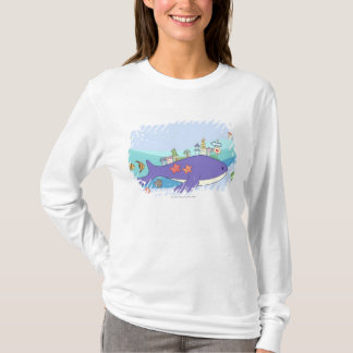 School of fishes swimming in underwater town T-Shirt