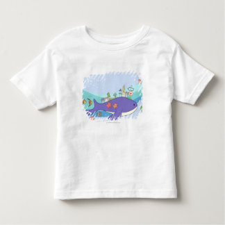 School of fishes swimming in underwater town toddler t-shirt