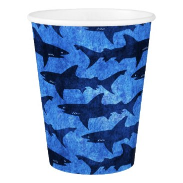 Beach Themed School of Great White Sharks Beach Party Paper Cup