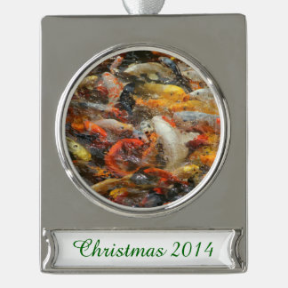 School of Koi Fish Silver Plated Banner Ornament