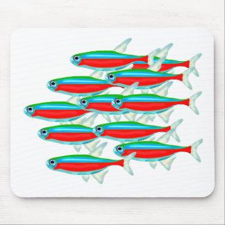 School of Neon Tetra Fish Mouse Pad