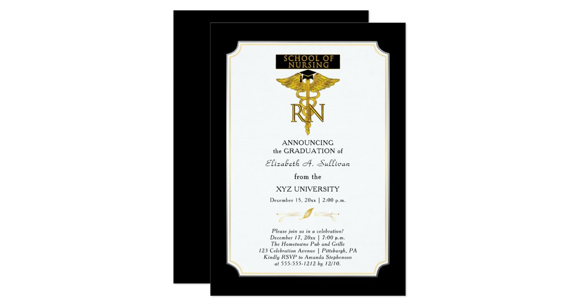 School Of Nursing Nurse Rn Graduation Invitation Zazzle Com