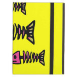 School of Pink Fish Bone Skeletons on Yellow Gifts iPad Cover