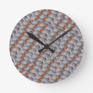 School of Piranhas pattern Round Clock