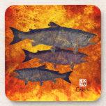 School Of Salmon - Hard Plastic Coasters