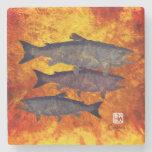 School Of Salmon - Marble Coaster