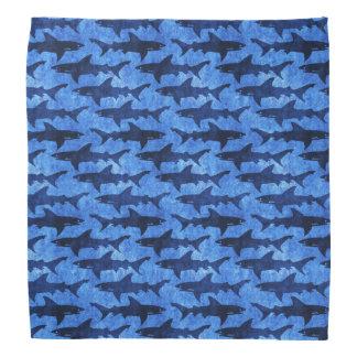 School of Sharks Blue Pattern Bandana