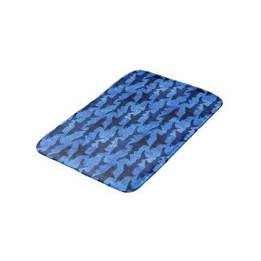 antiqueimages School of Sharks Blue Pattern Bathroom Mat