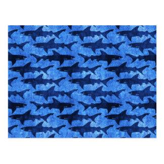 School of Sharks Blue Pattern Postcard