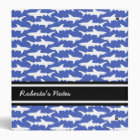 School of Sharks Funny Blue and White 3 Ring Binder