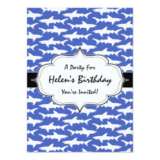 School of Sharks Funny Blue and White Card